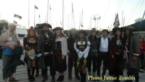 The pirates at the ST Peter's Marina during the Lights on the Lake Boat Parade Event