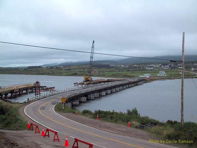 Margaree Harbour -  A new bridge to Belle Cote is being built. This photo was posted as Photo of the Week on June 20, 2003.