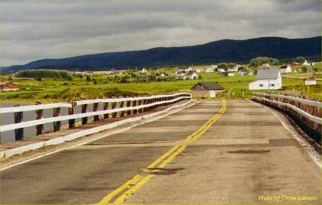Cape Breton Living Photo Memories:  This photo was posted as Photo of the Week on July 5, 2002 - Belle Cote – The old bridge from Margaree Harbour to Belle Cote.